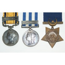Trio Medal Group, Queens South Africa Medal, Egypt Medal & Khedive's Star (Two medals Renamed.).