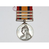 Queens South Africa Medal, 3 Clasp to 9989. DR.F J. Stevens, A.S.C.