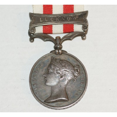 Indian Mutiny Medal  with 'Lucknow' Clasp, Impressed Naming to Alex York 1st European Bengal Fus.