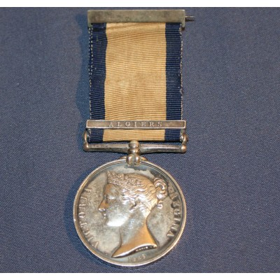 "Naval General Service Medal 1793-1840 with ""Algiers"" Clasp to John H Helby. Midshipman-Queen Charlotte"