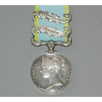 Crimea War Medal 1854-56 with Two Clasps, AZOFF & SEBASTOPOL to 325 William R Lucas. L.T.C.